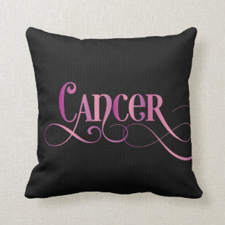 Swirly Script Zodiac Sign Cancer Pink on Black Throw Pillow