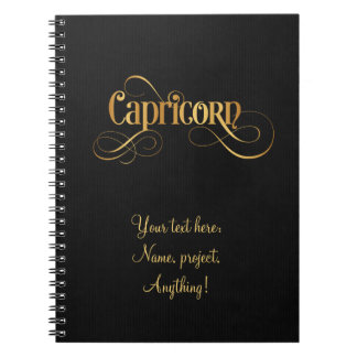 Swirly Script Zodiac Sign Capricorn Gold on Black Notebook