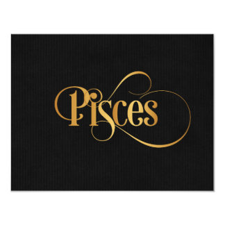 Swirly Script Zodiac Sign Pisces Gold on Black Card