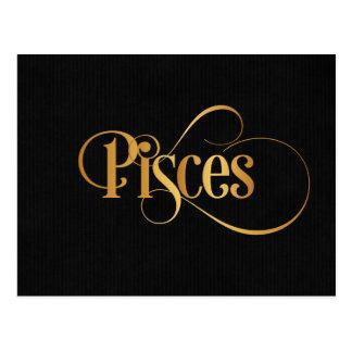 Swirly Script Zodiac Sign Pisces Gold on Black Postcard