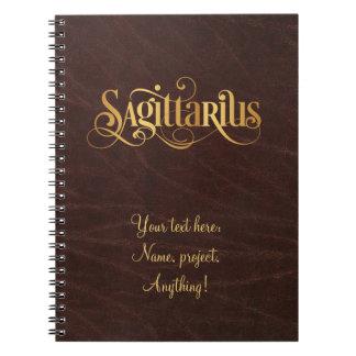Swirly Script Zodiac Sign Sagittarius Gold Leather Spiral Notebook