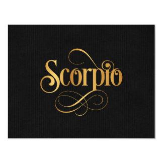 Swirly Script Zodiac Sign Scorpio Gold on Black 4.25x5.5 Paper Invitation Card