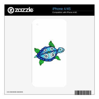 Swirly Sea Turtles Skins For iPhone 4