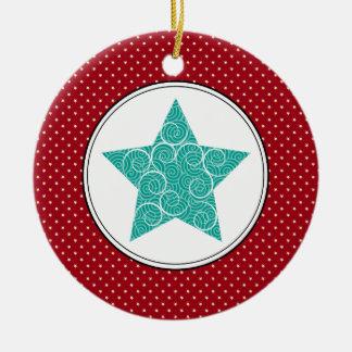 Swirly Star Ceramic Christmas Ornaments