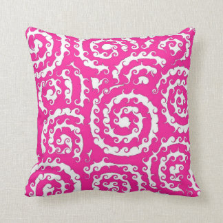 Swirly Sue Hot Pink Throw Pillow