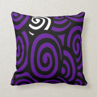 Swirly Sue Purple Black and white Pillow