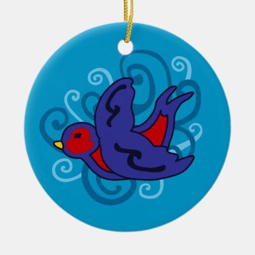 Swirly Swallow Christmas Tree Ornament