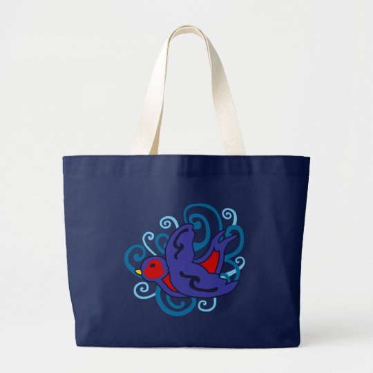 Swirly Swallow Large Tote Bag