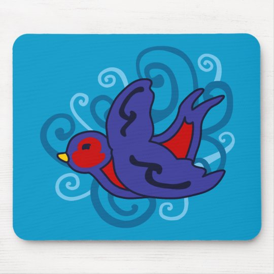 Swirly Swallow Mouse Pad