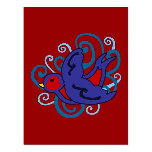 Swirly Swallow Postcard