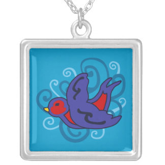 Swirly Swallow Silver Plated Necklace