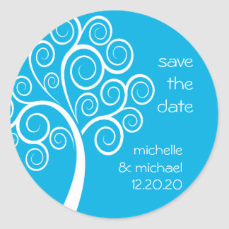 Swirly Tree Save The Date Sticker (Blue)