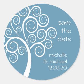 Swirly Tree Save The Date Sticker (Blue Gray)
