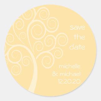 Swirly Tree Save The Date Sticker (Gold)