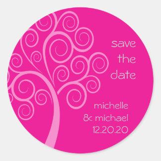 Swirly Tree Save The Date Sticker (Magenta Pink)