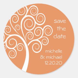 Swirly Tree Save The Date Sticker (Orange)