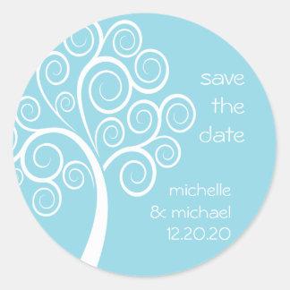 Swirly Tree Save The Date Sticker (Pale Blue)