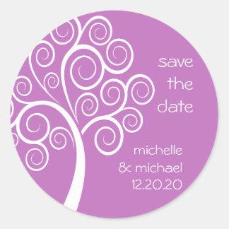 Swirly Tree Save The Date Sticker (Plum Purple)