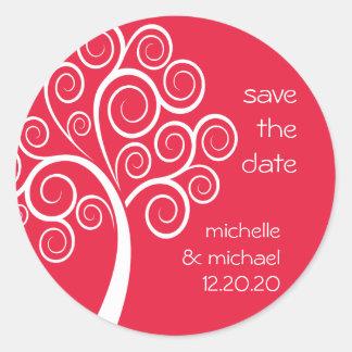 Swirly Tree Save The Date Sticker (Red)