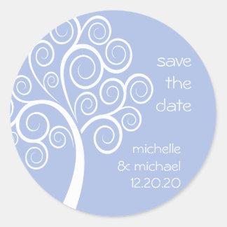 Swirly Tree Save The Date Sticker (Violet Purple)
