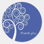 Swirly Tree Thank You Sticker (Navy Blue)