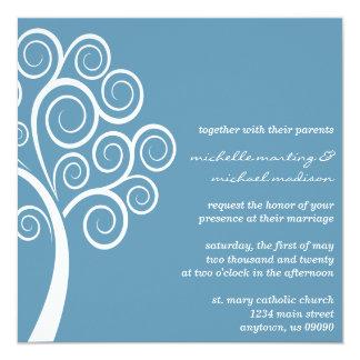 Swirly Tree Wedding Invitation (Blue Gray / White)