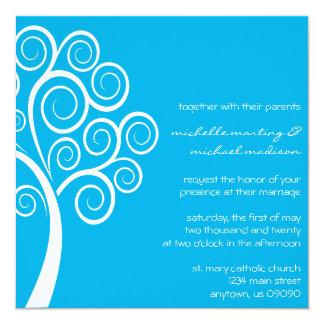 Swirly Tree Wedding Invitation (Blue / White)