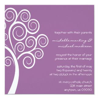 Swirly Tree Wedding Invitation (Eggplant / White)