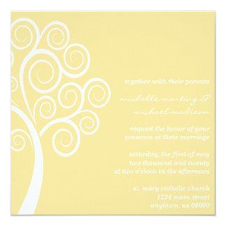Swirly Tree Wedding Invitation (Gold / White)