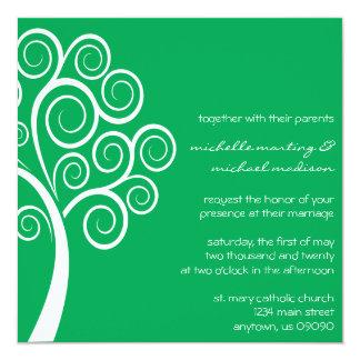Swirly Tree Wedding Invitation (Green / White)
