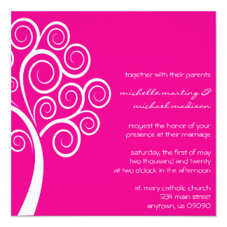 Swirly Tree Wedding Invitation (Magenta / White)