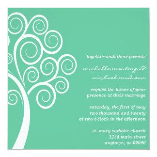 Swirly Tree Wedding Invitation (Mint Green/White)