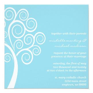 Swirly Tree Wedding Invitation (Pale Blue / White)