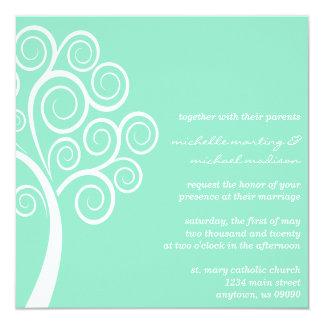 Swirly Tree Wedding Invitation (Pale Green/White)