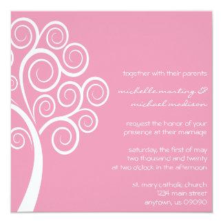 Swirly Tree Wedding Invitation (Pale Pink / White)