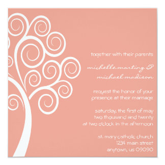 Swirly Tree Wedding Invitation (Peach / White)