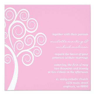 Swirly Tree Wedding Invitation (Pink / White)