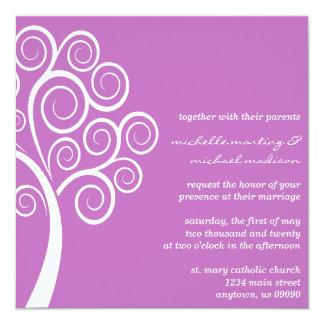 Swirly Tree Wedding Invitation (Plum Purple/White)