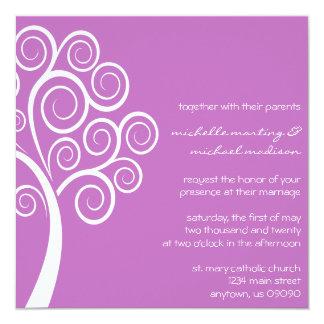 Swirly Tree Wedding Invitation (Plum/ White)
