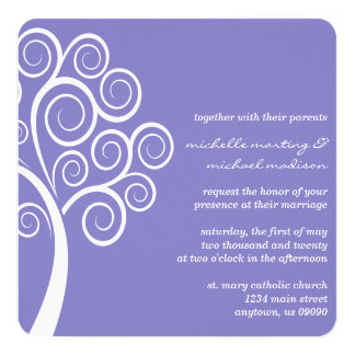 Swirly Tree Wedding Invitation (Purple / White)