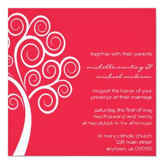 Swirly Tree Wedding Invitation (Red / White)