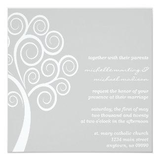 Swirly Tree Wedding Invitation (Silver / White)
