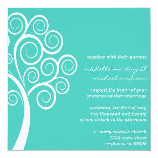 Swirly Tree Wedding Invitation (Teal / White)