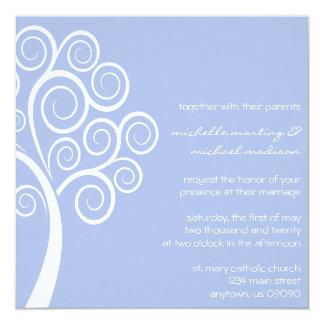 Swirly Tree Wedding Invitation (Violet / White)