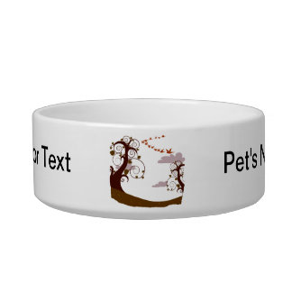 Swirly tree with flying birds graphic bowl