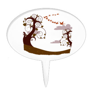 Swirly tree with flying birds graphic cake topper