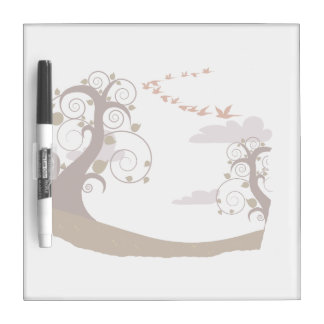 Swirly tree with flying birds graphic dry erase board