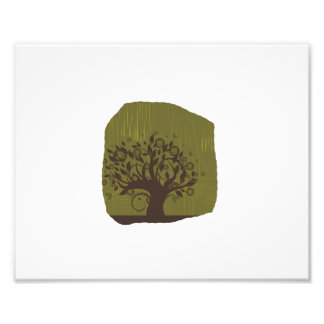 Swirly tree with olive background n hearts photograph