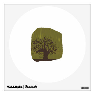 Swirly tree with olive background n hearts wall decals