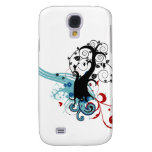 Swirly tree with red and blue galaxy s4 covers